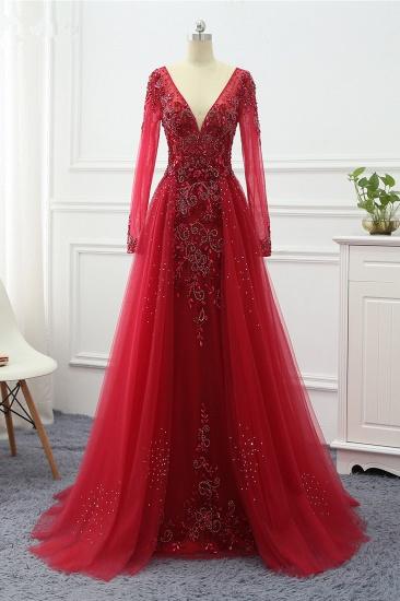 BMbridal Elegant V-Neck Long Sleeves Appliques Beadings Prom Dresses with Overskirt_2