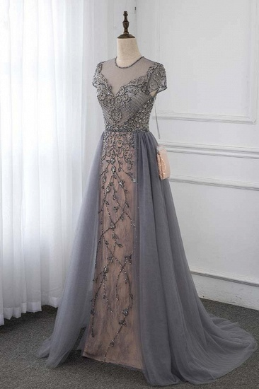 Stylish Jewel Appliques Short Sleeves Prom Dresses with Rhinestone Online_3