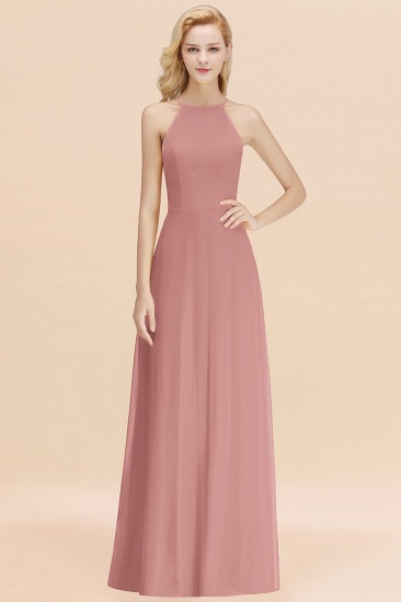 Modest High-Neck Yellow Chiffon Affordable Bridesmaid Dresses Online_50