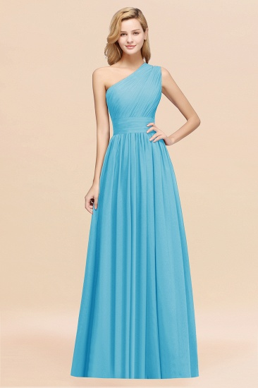 Stylish One-shoulder Sleeveless Long Junior Bridesmaid Dresses Affordable_24