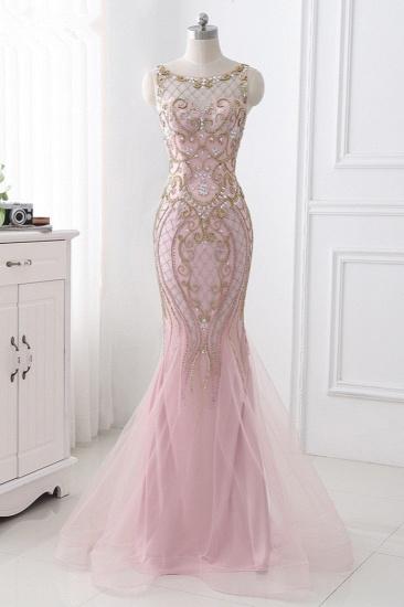 Gorgeous Jewel Pink Tulle Prom Dresses Mermaid Rhinestones Appliques Formal Dresses On Sale_1