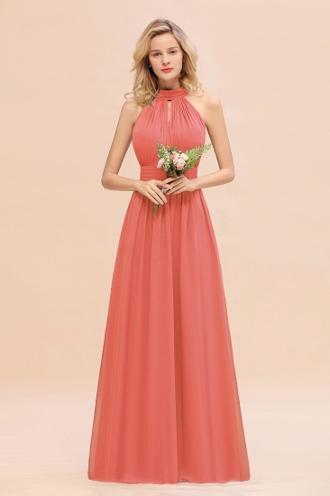 Glamorous High-Neck Halter Bridesmaid Affordable Dresses with Ruffle_7