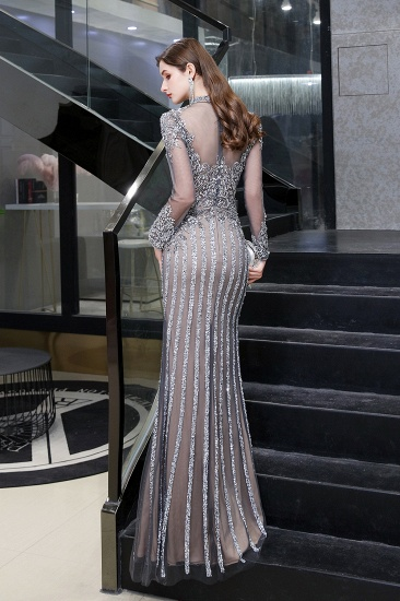 BMbridal Gorgeous Long Sleeve Mermaid Prom Dress With Sequins High-Neck Evening Gowns_10