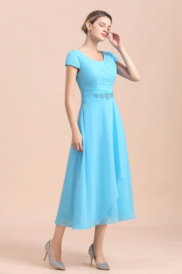 Blue Short Sleeves Chiffon Mother of the Bride Dress Tea-Length Online_4