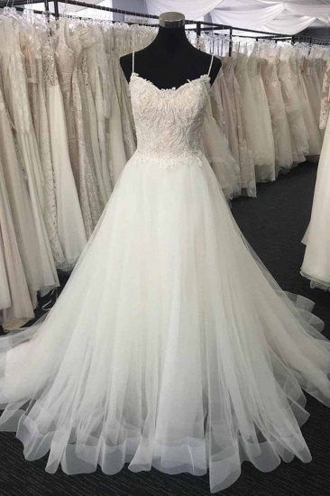 BMbridal Gorgeous Sweetheart White Lace Wedding Dress Appliques Long Bridal Gowns On Sale_1
