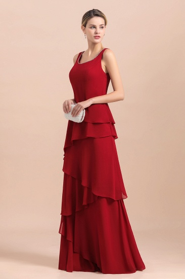BMbridal Elegant Burgundy Chiffon Mother of the Bride Dress Ruffles With Jacket_9