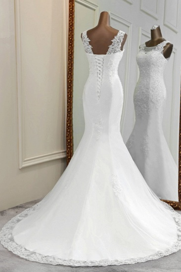 Stunning Jewel Sleeveless White Wedding Dresses White Mermaid Beadings Bridal Gowns_3
