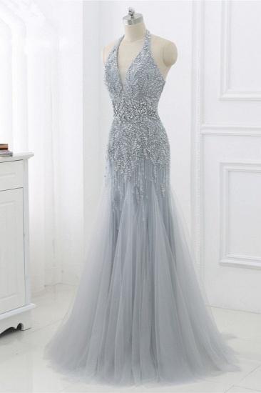 BMbridal Elegant Tulle Halter Rhinestones Mermaid Prom Dresses Sleeveless Appliques Online_8