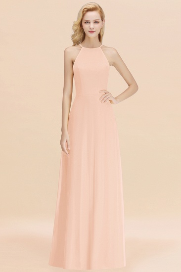 Modest High-Neck Yellow Chiffon Affordable Bridesmaid Dresses Online_5