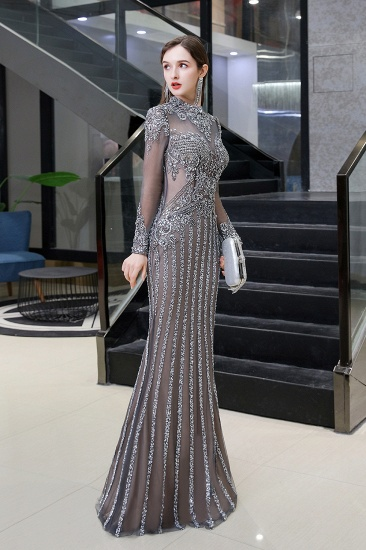 BMbridal Gorgeous Long Sleeve Mermaid Prom Dress With Sequins High-Neck Evening Gowns_3