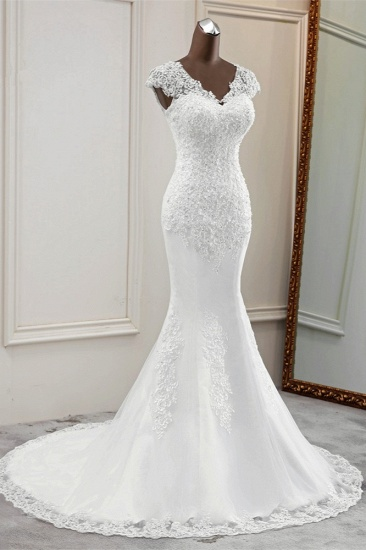 Luxury V-Neck Sleeveless White Lace Mermaid Wedding Dresses with Appliques_4