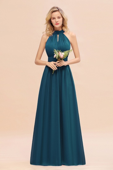 Glamorous High-Neck Halter Bridesmaid Affordable Dresses with Ruffle_27