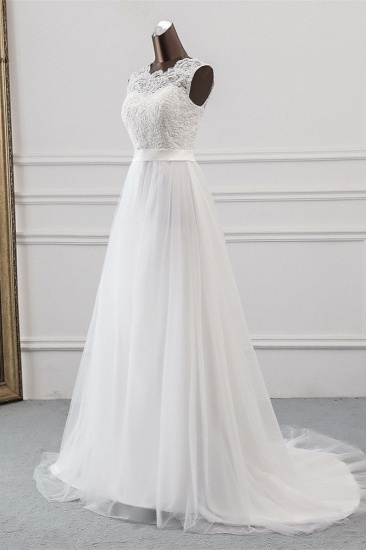 Elegant Tullace Jewel Sleeveless White Wedding Dresses with Appliques Online_4