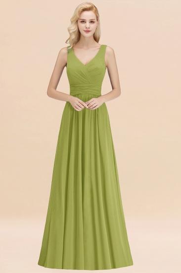 Modest Sleeveless V-Neck Long Chiffon Bridesmaid Dress Online with Ruffle_34
