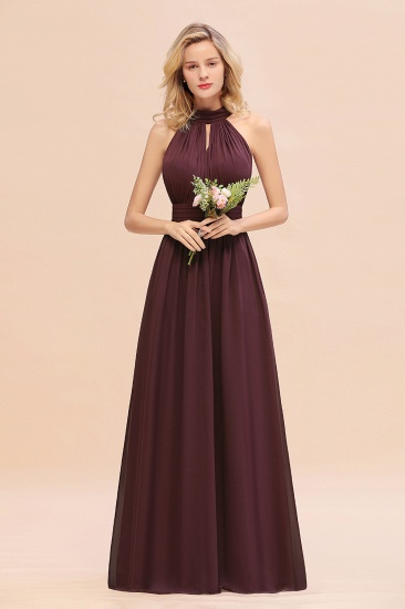 Glamorous High-Neck Halter Bridesmaid Affordable Dresses with Ruffle_47