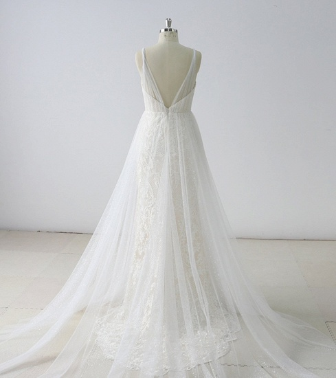 BMbridal Gorgeous Simple White Lace V-Neck Long Wedding Dress Sleeveless Appliques Bridal Gowns On Sale_3