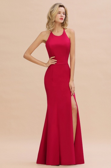 Sexy Red Halter Mermaid Prom Dress Long Evening Gowns Online_2