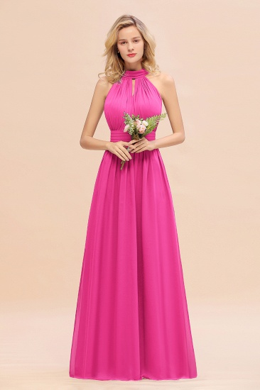 Glamorous High-Neck Halter Bridesmaid Affordable Dresses with Ruffle_9