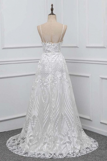 BMbridal Boho Spaghetti Straps V-Neck Appliques Wedding Dresses White Sleeveless Bridal Gowns On Sale_3