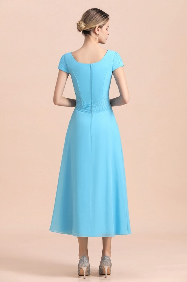 Blue Short Sleeves Chiffon Mother of the Bride Dress Tea-Length Online_3