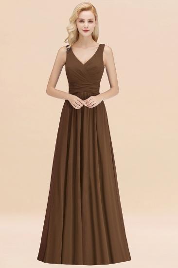 Modest Sleeveless V-Neck Long Chiffon Bridesmaid Dress Online with Ruffle_12
