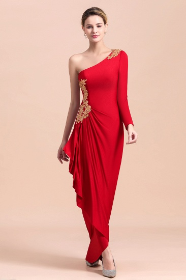 Chic One-Shoulder Long Sleeves Ruffle Mother of Bride Dresses with Appliques_9