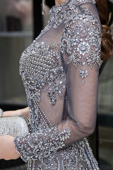 BMbridal Gorgeous Long Sleeve Mermaid Prom Dress With Sequins High-Neck Evening Gowns_12