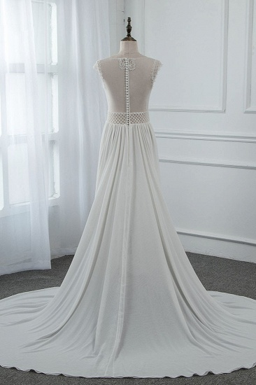 Sexy Jewel Sleeveless Chiffon Wedding Dresses See Through Top Bridal Gowns On Sale_3