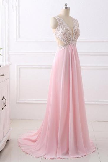 Elegant A-Line V-Neck Pink Chiffon Prom Dresses with Ruffles Online_5