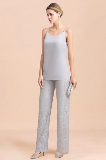 BMbridal Elegant V-Neck Appliques Silver Mother of Bride Jumpsuit with Lace Wraps_9