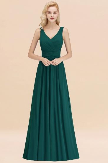 Modest Sleeveless V-Neck Long Chiffon Bridesmaid Dress Online with Ruffle_33