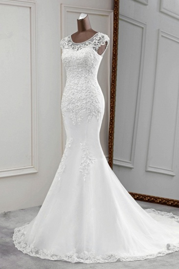 Gorgeous Jewel Sleeveless White Lace Mermaid Wedding Dresses with Appliques_5