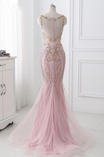 Gorgeous Jewel Pink Tulle Prom Dresses Mermaid Rhinestones Appliques Formal Dresses On Sale_3