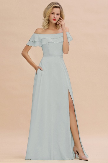 Exquisite Off-the-shoulder Slit Mint Green Bridesmaid Dress With Pockets_38