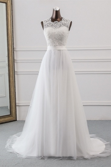 Elegant Tullace Jewel Sleeveless White Wedding Dresses with Appliques Online_1