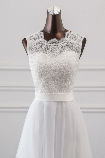 Elegant Tullace Jewel Sleeveless White Wedding Dresses with Appliques Online_5