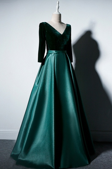 Elegant V-Neck Satin A-Line Prom Dresses Long Sleeves Party Dresses On Sale_4