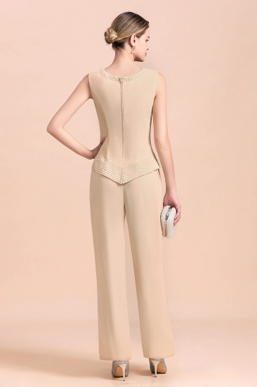 Champagne Long Chiffon Mother of the Bride Dress Two Pieces With Jacket_8