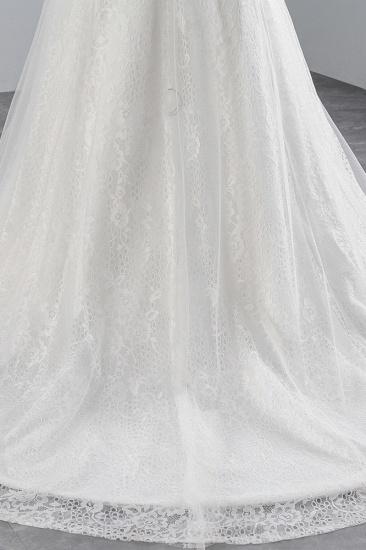 BMbridal Glamorous Jewel Sleeveless Rhinestone White Mermaid Wedding Dresses with Appliques_8
