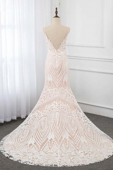 Sexy Spaghetti Straps Appliques Ivory Wedding Dresses V-Neck Sleeveless Bridal Gowns_3
