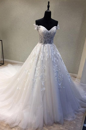 BMbridal Glamorous Sweetheart Sleeveless Wedding Dress Off Shoulder Sweep Train Bridal Gowns On Sale_1