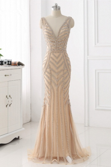 Elegant Gold Tulle V-Neck Sleeveless Prom Dresses with Beadings On Sale_1