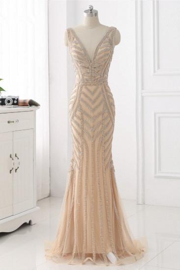 BMbridal Elegant Gold Tulle V-Neck Sleeveless Prom Dresses with Beadings On Sale_1
