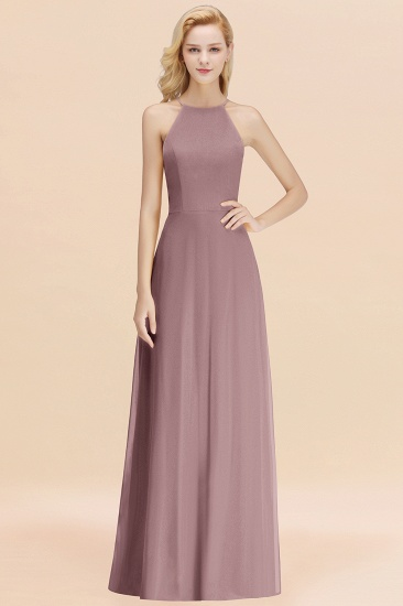 Modest High-Neck Yellow Chiffon Affordable Bridesmaid Dresses Online_37