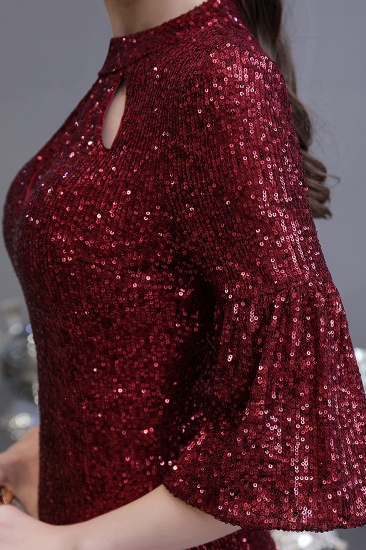 BMbridal Burgundy Short Sleeve Sequins Prom Dress Long Party Gowns Online_11