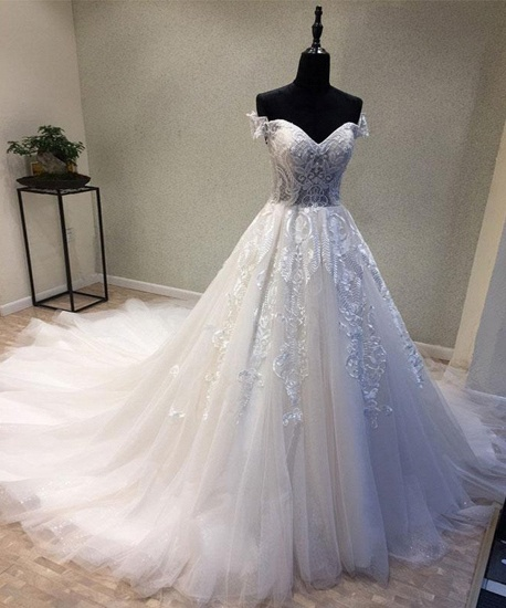 BMbridal Glamorous Sweetheart Sleeveless Wedding Dress Off Shoulder Sweep Train Bridal Gowns On Sale_3