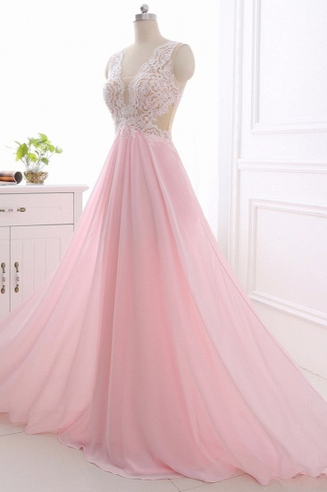 Elegant A-Line V-Neck Pink Chiffon Prom Dresses with Ruffles Online_4