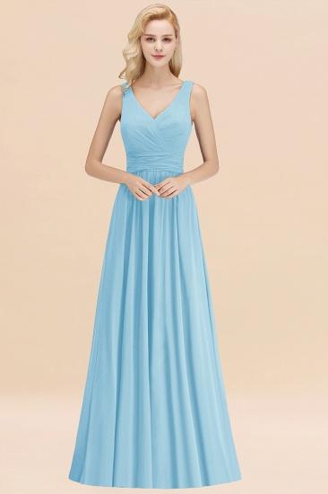 Modest Sleeveless V-Neck Long Chiffon Bridesmaid Dress Online with Ruffle_23