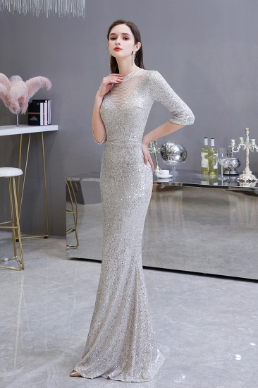 Silver Half Sleeve Sequins Prom Dress Mermaid Long Evening Gowns_4