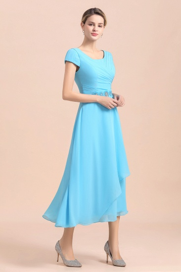 Blue Short Sleeves Chiffon Mother of the Bride Dress Tea-Length Online_9